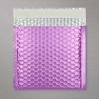 Enveloppe bulles métallisée lilas