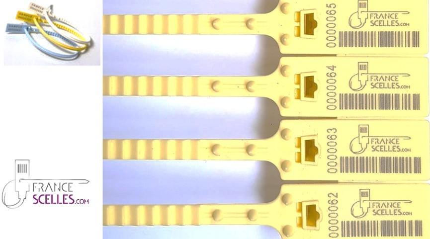 Scellé plastique réglable par crantage régulier de la tige